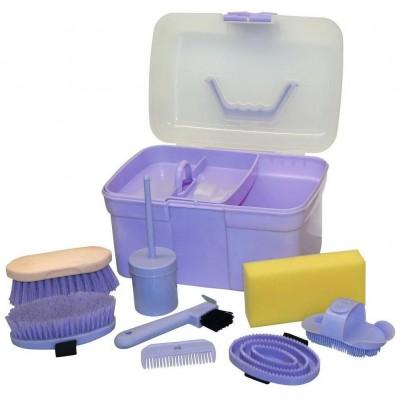 Box na čistící potřeby, vybavený pro děti, 8-dílný, barva lila