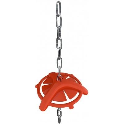 Kroužek kousací pro selata červený, s řetízkem na zavěšení
