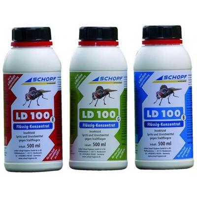 LD 100 G tekutý koncentrát k hubení much ve stáji, Permethrin 9, 9%, zelený, 500ml
