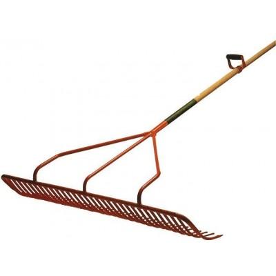 Hrábě ruční vlečné s drátěnou výztuhou, zuby 30cm, 131cm šíře, 115cm násada