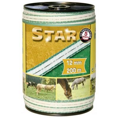Vodič páska 40mm, 200m, STARLINE bílá/zelená, 4x0,30mm nerez, 6x0.30mm Cu
