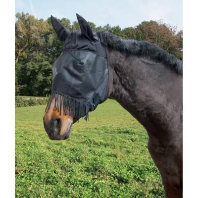 Maska proti hmyzu pro koně s ochrannou síťkou na uši nozdry, z PVC, teplokrevník s třásněmi černá
