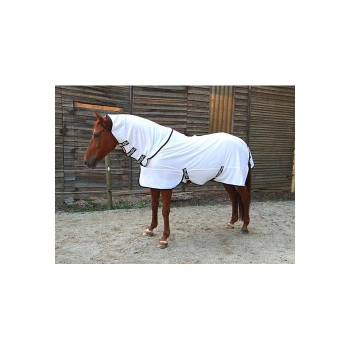 Deka pro koně RugBe SuperFly - deka proti hmyzu s odnímatelným nákrčníkem, bílá, 105 cm / 155 cm