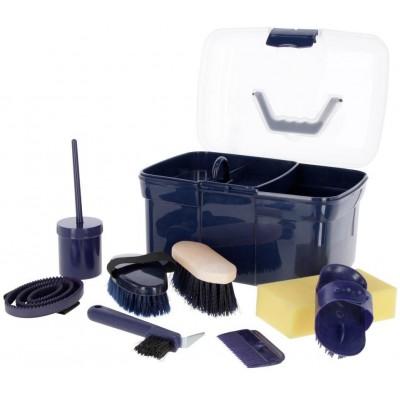 Box na čistící potřeby, vybavený pro děti, 8-dílný, barva modrá