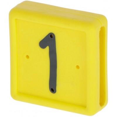 Plastové číslo 1 na pásku na nohu, žluté