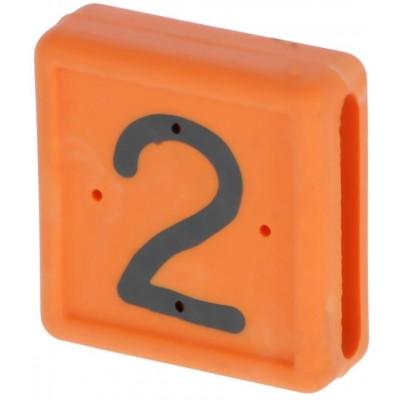 Plastové číslo 2 na pásku na nohu, oranžové