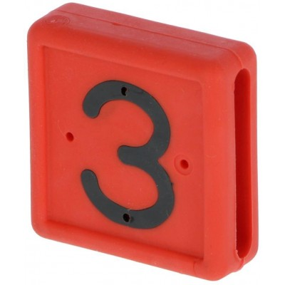 Plastové číslo 3 na pásku na nohu, červené