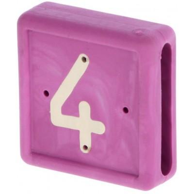 Plastové číslo 4 na pásku na nohu, fialové