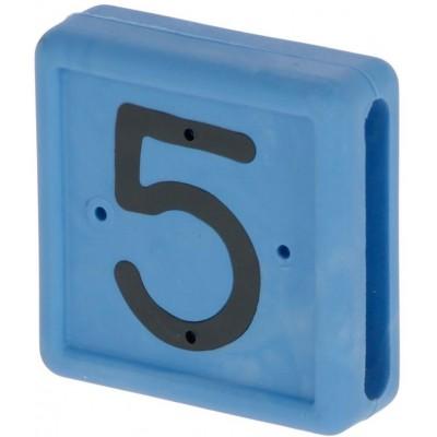 Plastové číslo 5 na pásku na nohu, modré