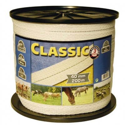 Vodič páska 40mm, 200m, CLASSIC, bílá, 200m