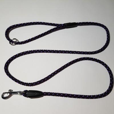 Vodítko z lana 8mmx150cm černo-fialová