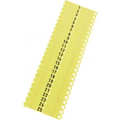 Ušní známky Twintag s popisem 50 ks, žluté, č. 101-150