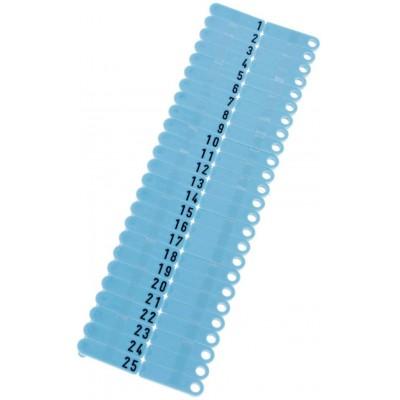Ušní známky Twintag s popisem 50 ks, modré, č. 51-100