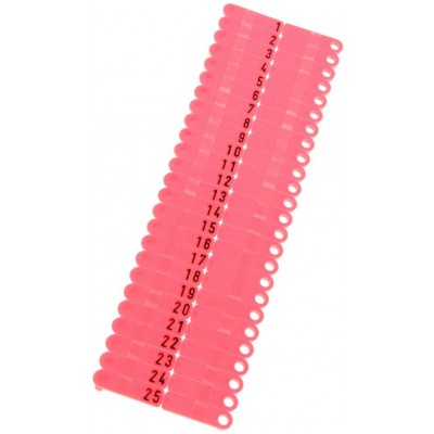 Ušní známky Twintag s popisem 50 ks, červené, č. 351-400