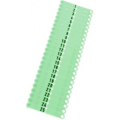Ušní známky Twintag s popisem 50 ks, zelené, č. 201-250
