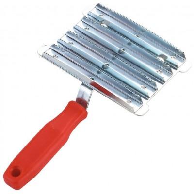 Hřebelec kovový-pozink., 8řad jemné zuby, červené plast.držadlo