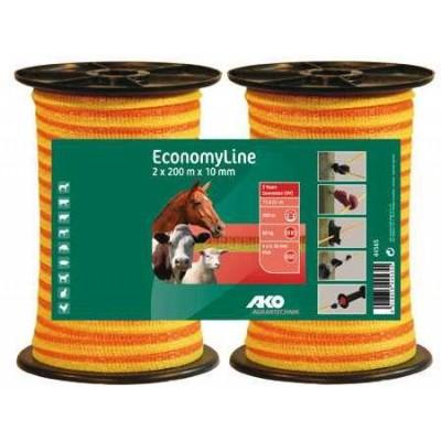 Vodič páska 10mm, 2x200m, žluto/oranž, 4x0,16mm, Economy Line