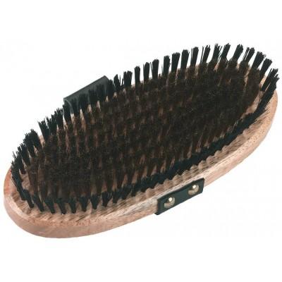 Kartáč čistící 7řad-měděné štětiny, 2 řady nylonové štětiny, lakované dřevo, kožený návlek