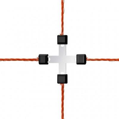 Litzclip na lanko, 3mm, kříž, galvanizovaný, 5ks