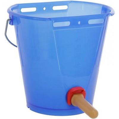 Napájecí kbelík s ventilem FixClip a dudlíkem z přírodního kaučuku, průhledná modrá
