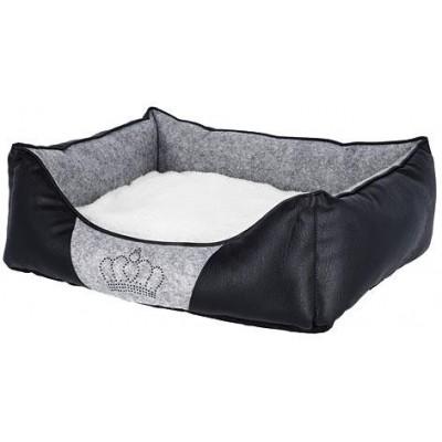 Pelíšek pro psy/kočky Chiara, 55x45x18cm, šedá/černá