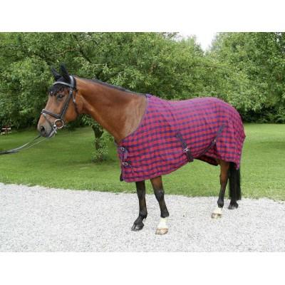 Deka pro koně, kostka, červená/modrá, 135cm/185cm, poslední kus