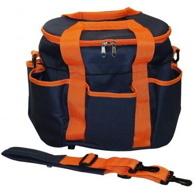 Taška na čistící potřeby modro/oranžová.6 kapes, popruh na rameno