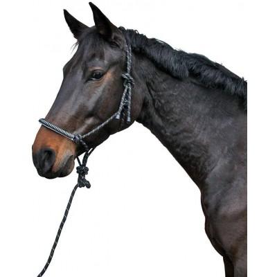 Ohlávka nylonová provazová s 2m navazujícím vodítkem, černá