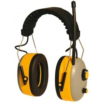 Ochranná sluchátka s rádiem, regulace hlasitosti