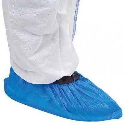 Návleky PE na obuv, jednorázové, modré, 100 ks, 0,035 mm, s gumičkou