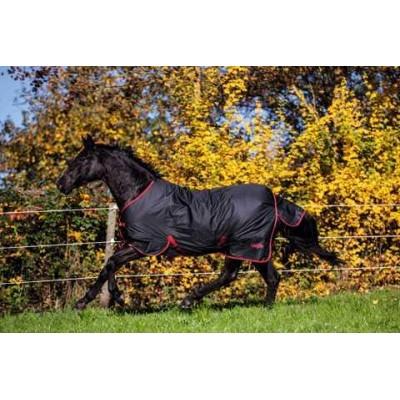 Deka pro koně RugBE Zero.1, černá červená, vel. 105/155 cm