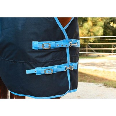Deka pro koně RugBe HighNeck modrá/světle modrá, 145 cm / 195 cm