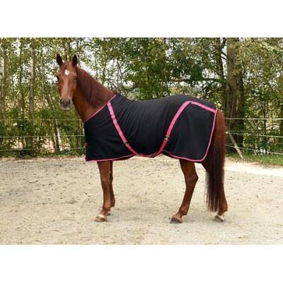 Deka pro koně - odpocovací a transportní deka z flísu, černá/jahodová, 155 cm / 205 cm