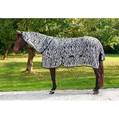 Antialergická deka proti hmyzu pro koně s nákrčníkem ZEBRA, 135 cm / 185 cm