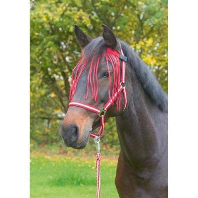 Čelenka s třásněmi proti hmyzu, nylonová, tmavě červená, pony