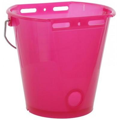 Napájecí kbelík pro telata, plast, průhledný růžový, 8l