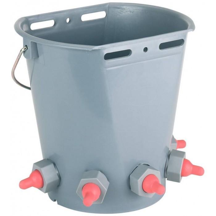 Kyblík napájecí pro jehňata s 5 krátkými, červenými dudlíky, vč. kuličkových ventilů
