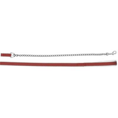 Vodítko EXCLUSIVE popruhové s řetězem a karabinou 50cm, červené, poslední kusy